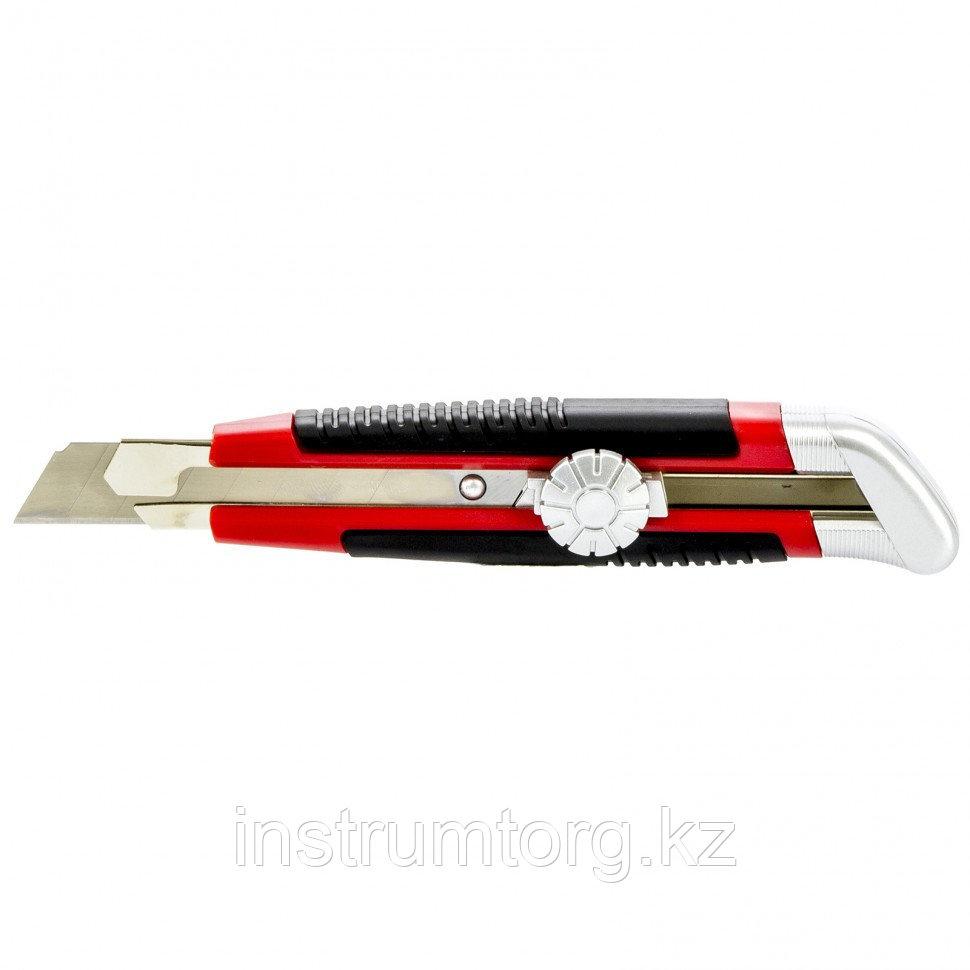 Нож, 18 мм, выдвижное трапециевидное лезвие, металлический корпус + 8 лезвий// MATRIX MASTER