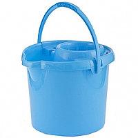 Ведро пластмассовое круглое с отжимом 12л, голубое,Россия// Elfe, фото 1