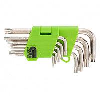 Набор ключей имбусовых Tamper-Torx, 9 шт.: TT10-TТ50, 45x, закаленные, короткие, никель// Сибртех, фото 1
