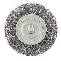 Щетка для дрели, 60 мм, плоская со шпилькой, витая проволока 0,3мм// Сибртех, фото 1