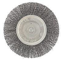 Щетка для дрели 100 мм, плоская со шпилькой, витая проволока 0,3 мм// Сибртех, фото 1