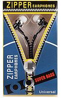 Вакуумные наушники Zipper на молнии  с микрофоном , фото 1