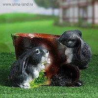 """Фигурное кашпо """"Два зайца"""" 20х23х17см"""