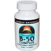 Витамины B-50 комплекс, 50 мг, 100 таблеток (B-50 Complex, Source Naturals)
