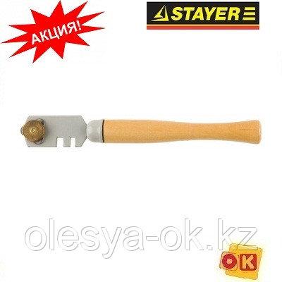 "Стеклорез деревянная ручка, 3 ролика. STAYER ""MASTER"""