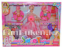 """Игровой набор для девочек. """"Кукла с комплектом одежды и двумя мини малышками"""" (Высота 28 см)"""