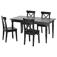 Стол и 4 стула ИНГАТОРП / ИНГОЛЬФ черный, коричнево-чёрный ИКЕА, IKEA, фото 1