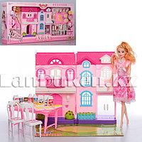 Кукла с детским домиком с мебелью аксессуарами, с световыми и звуковыми эффектами 6912-A (Высота куклы 28 см)