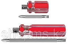 """Отвертка с переставным жалом """"коротыш"""", пластиковая красная прозрачная ручка 6x28 мм PH2/SL6"""