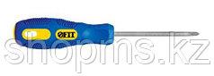 """Отвертка """"Гранд"""", сталь S2, шестигранное жало, прорезиненная сине-желтая ручка, Профи  3х75 мм РН0"""