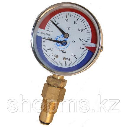 Манометр с термометром Стеклоприбор ДМТ-05080 1,6МПа 0-150с, фото 2