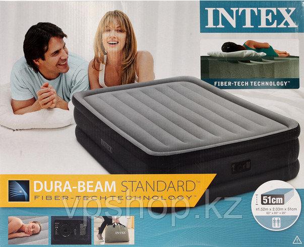 Двуспальная надувная кровать 152х203х51см с встр. насосом, Intex 64140