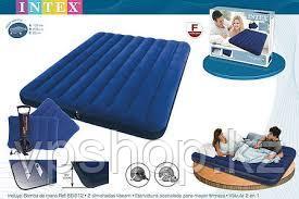Надувной двуспальный матрас Intex 68765 с насосом (152* 203* 22 см)