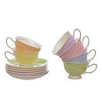 Набор из 6 чайных пар из костяного фарфора. «NEW BONE CHINA PASTEL»