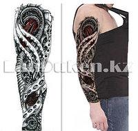 Временное тату полный рукав с узором глаз дракона QB-3019 15х43 см
