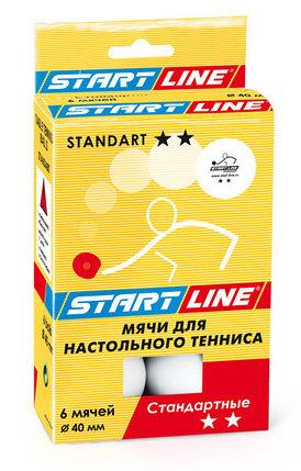 Шарики для настольного тенниса STANDART 2*, 6 мячей в упаковке, белые, фото 2