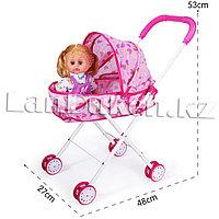 Детская складная коляска для кукол розовый h=53 см (Узоры в ассортименте)