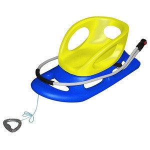 Санки со спинкой и рукоятью 84 х 45 см сине-желтые, фото 2