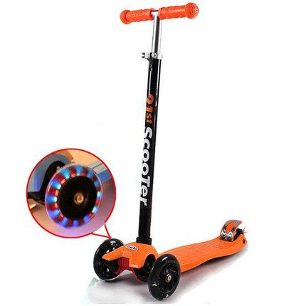 Самокат трехколесный 21st scooter maxi со светящимися колесами 21vek оранжевый, фото 2