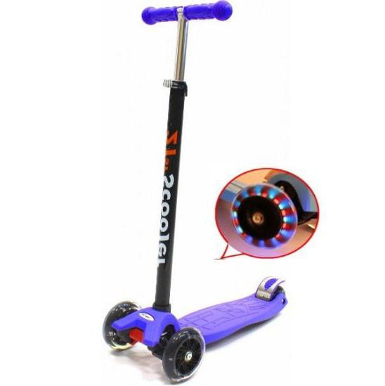 Самокат трехколесный 21st scooter maxi со светящимися колесами 21vek синий