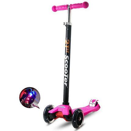 Самокат трехколесный 21st scooter maxi со светящимися колесами 21vek розовый, фото 2