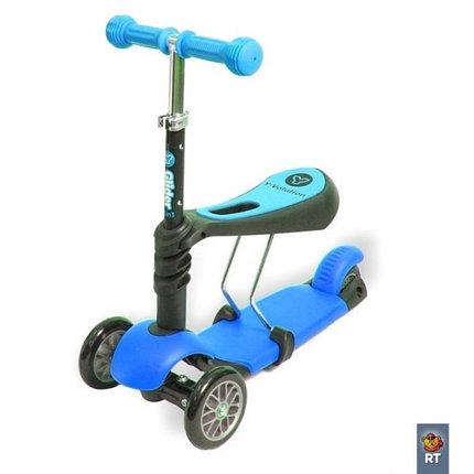 Самокат Scooter трехколесный 3 в 1 голубой, фото 2