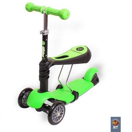 Самокат Scooter трехколесный 3 в 1 зеленый, фото 2