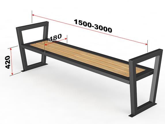 """Уличная скамейка без спинки. """"Трапеция"""", фото 2"""