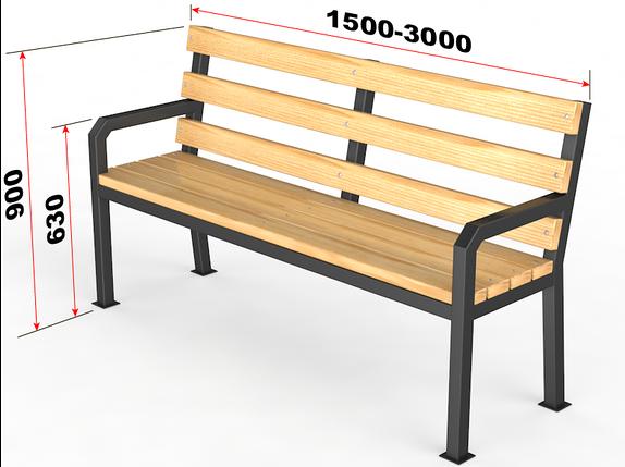 "Уличная скамейка со спинкой. ""Дача"", фото 2"
