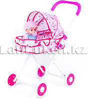 Детская складная коляска для кукол розовый h=56 см (Узоры в ассортименте)