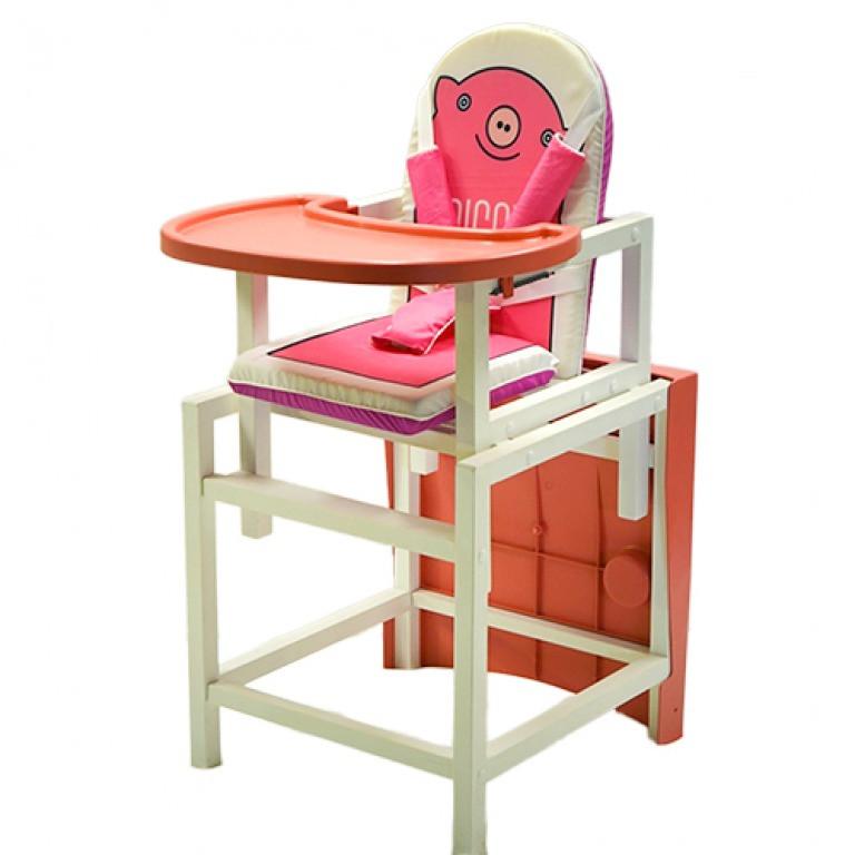 "Стол-стул для кормления Barty ""BABYS"", (белый арт.PIGGY)"