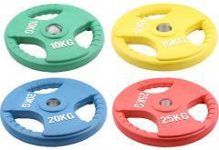 Олимпийский диск евро-классик с тройным хватом, блины для штанги D=50мм. (10+10кг)