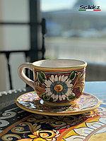 Чашка с тарелкой ручной работы, керамика. Италия