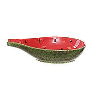Керамическое блюдо арбуз с носиком. 31х7 см