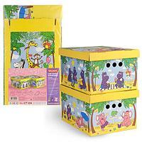 Короб картонный, складной, малый, 25*33*18.5 см, набор 2 шт., ВЕСЁЛАЯ АФРИКА