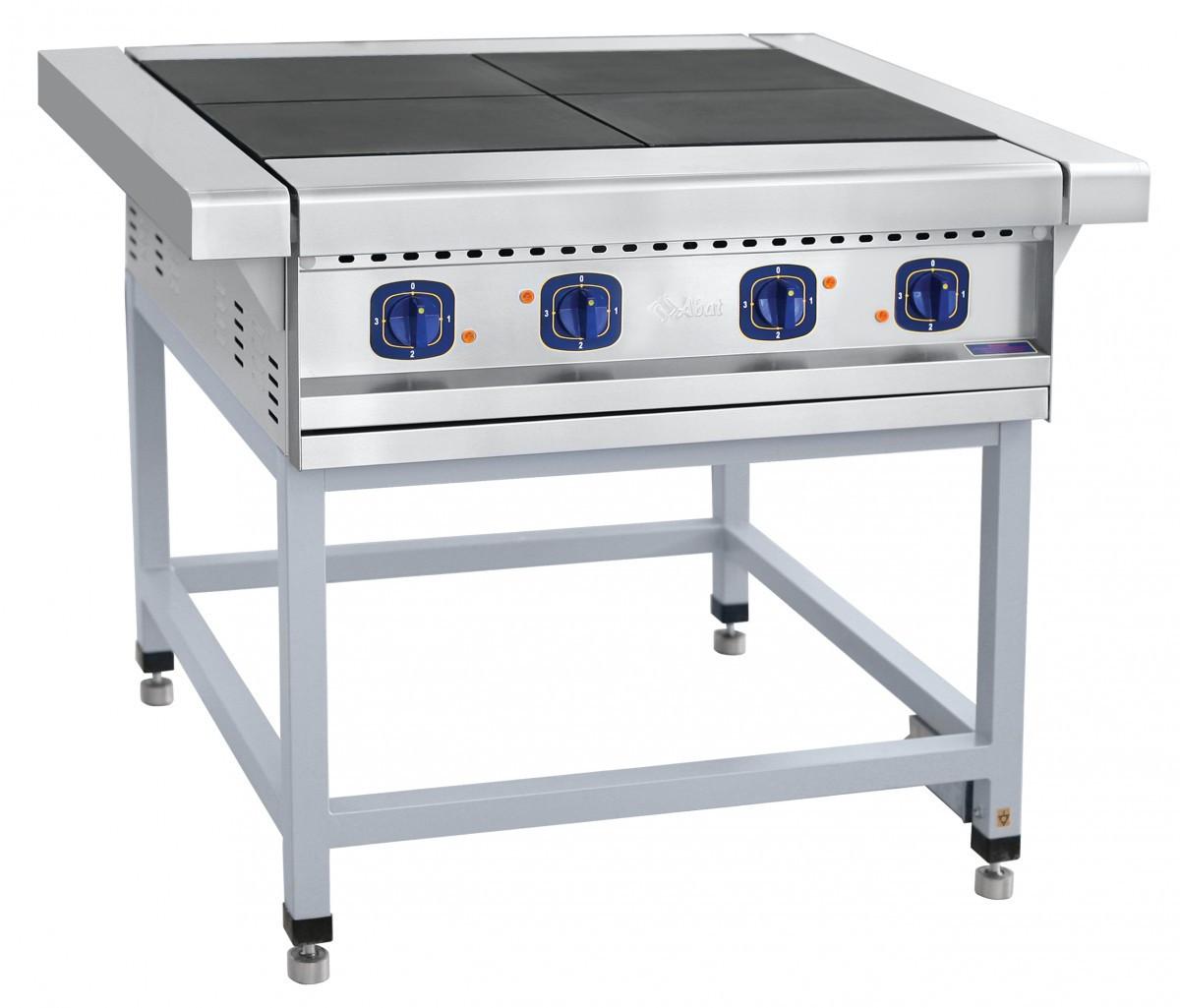 Плита электрическая промышленная четырехконфорочная без жарочного шкафа ЭП-4П на подставке Abat
