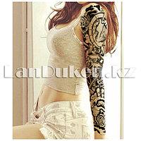 Временное тату полный рукав с узором черный QB-3009 15х43 см