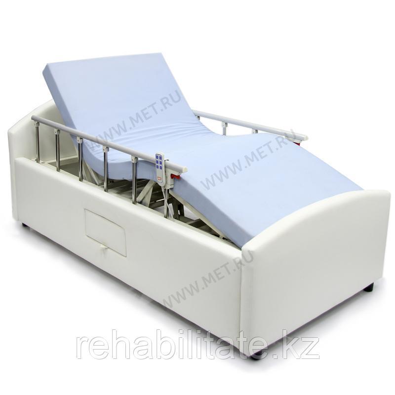 Домашняя функциональная кровать с электроприводом в мягкой обивке из эко кожи OMEGA-7 HOME