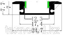 Алюминиевый профиль для Led 17*6 встраиваемый, фото 2