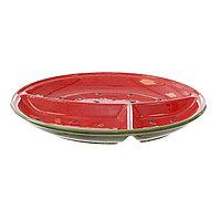 Керамическое блюдо в форме арбуза с 3-мя секциями. 29 см.