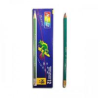 Простые карандаши Conte с резинкой черной 12 шт