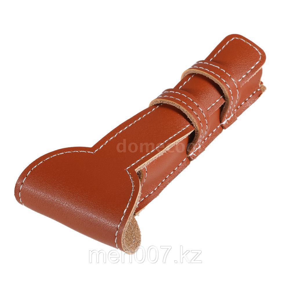Футляр-чехол кожаный для двусторонней бритвы (рыжий)
