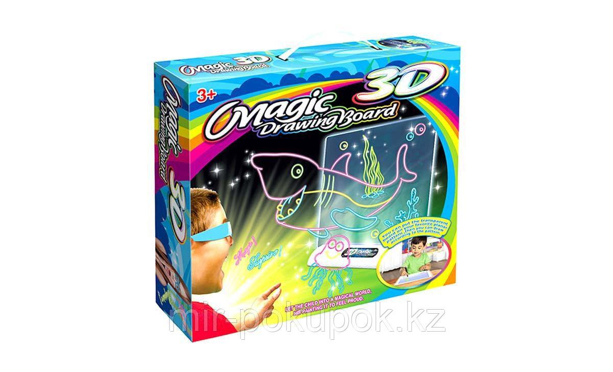 Электронная доска для рисования 3D Magic Drowing Board Морской стиль с подсветкой и 3Д эффектом, Алматы