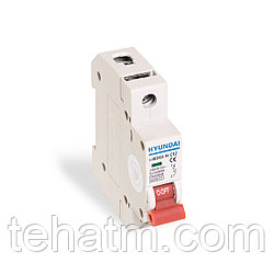 Автоматический выключатель реечный, HYUNDAI, HIBD63-N 1PMCS0000C 1Р 25А, 6kA