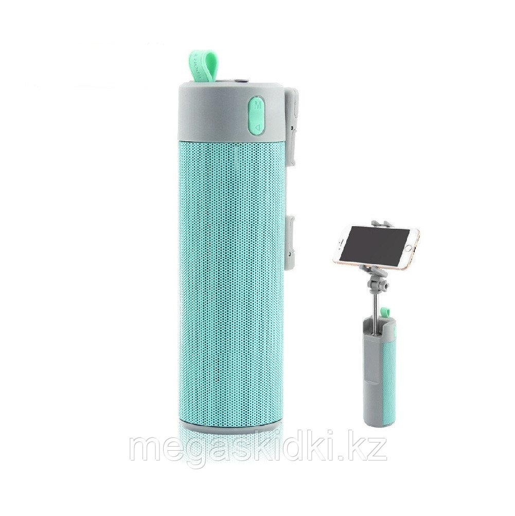 Колонка Bluetooth с селфи палкой голубая