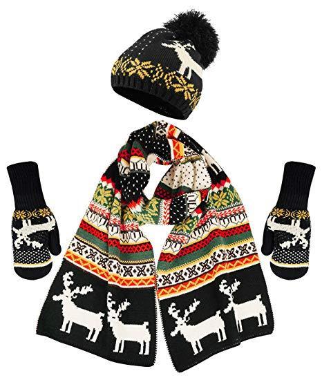 Теплый комплект из шапки, шарфа и варежек с флисом (Черно-белый)
