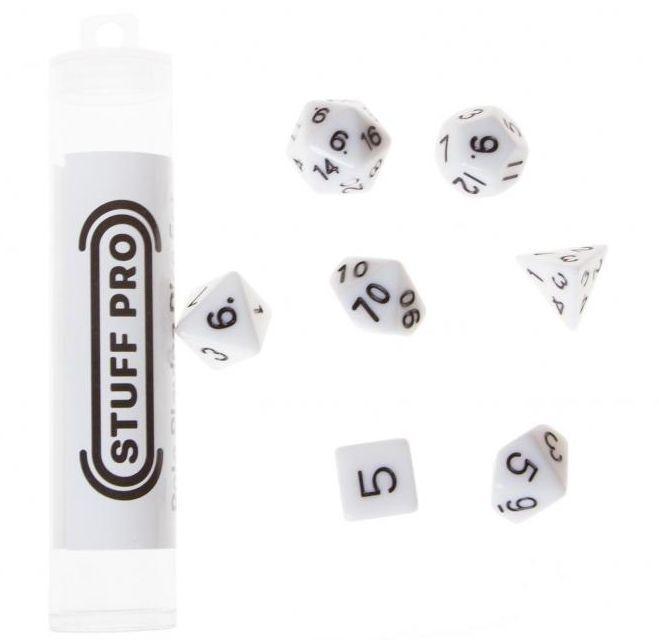 Набор кубиков STUFF PRO для ролевых игр. Белые