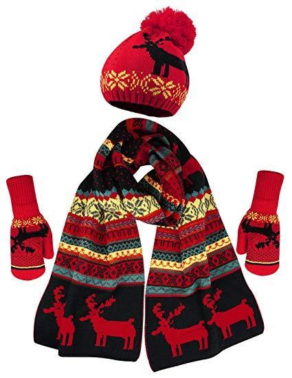 Теплый комплект из шапки, шарфа и варежек с флисом (Красно-черный)