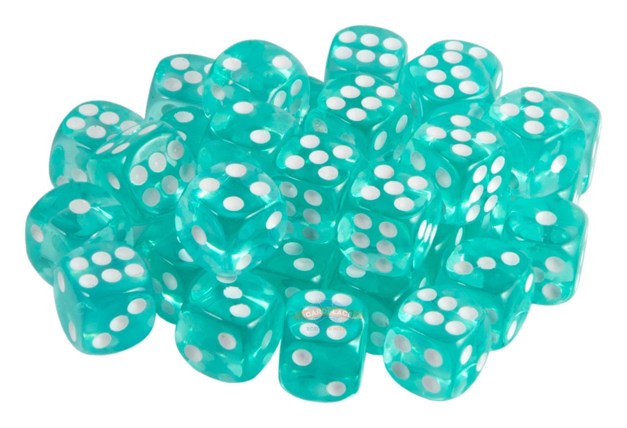 Набор кубиков STUFF PRO D6. Прозрачные бирюзовые-12 мм. 36 шт.