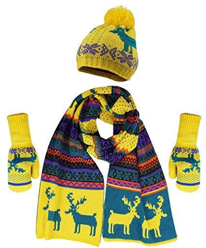 Теплый комплект из шапки, шарфа и варежек с флисом (Желто-синий)